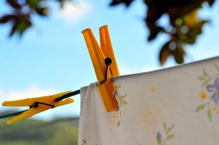 colorful clothing drying in the wind Stock Photo