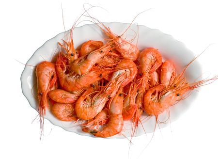 a tray with cooked red crayfish Stock Photo
