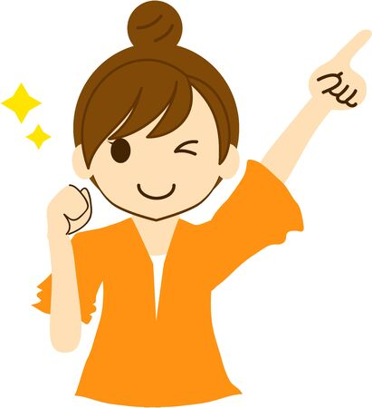 A smiling woman holding one hand and pointing diagonally up and winking Illustration