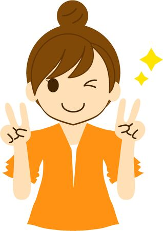 A smiling woman winking with a W-piece sign 矢量图像