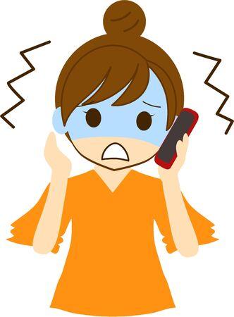 Una donna che ha una conversazione tesa sul suo smartphone