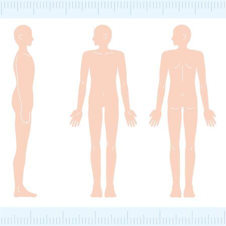 Male Medical Beauty Naked Nude Whole Body FrontBack Landscape