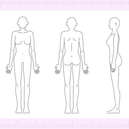 Female Medical Beauty Naked Nude Whole Body Front, Back, Side