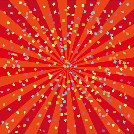 Red Radial Confetti Glitter Background