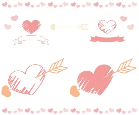 Hand-painted heart with arrow set Illustration