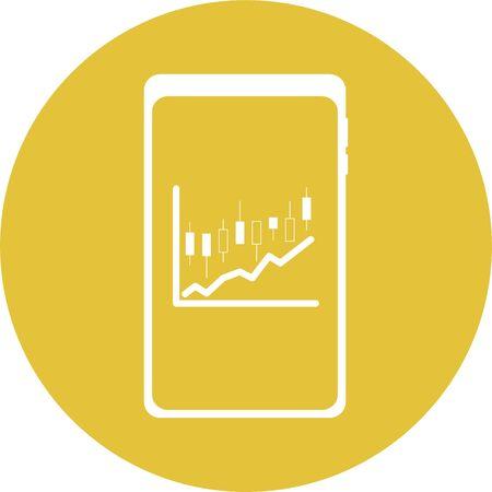 Stock price movement check icon on smartphone