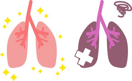 Simple Healthy and Unhealthy Lung Illustrations Internal Organs / Digestive  イラスト・ベクター素材