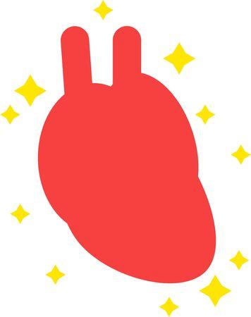 Illustration of a simple healthy heart internal organs cardiovascular