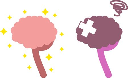 Simple Healthy and Unhealthy Brain Illustrations OrganMedical