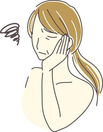 Illustration of a senior woman with skin care problems Ilustração