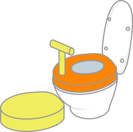 A round seat with toilet and a step board