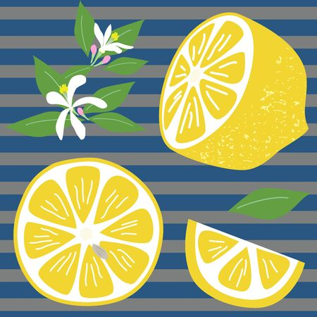 Hand-painted lemon and flower and leaf background