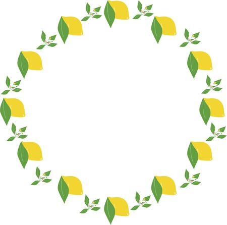 Hand-painted lemon, leaf and flower frame