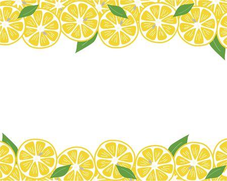 Hand-painted lemon and leaf background frame 写真素材 - 148467026