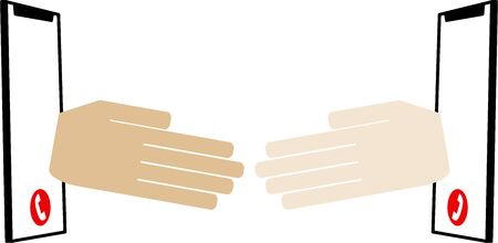 Image of handshakes in cooperation with each other (air handshake)