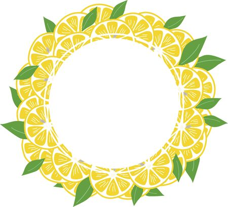 Hand-painted lemon and leaf background frame 向量圖像