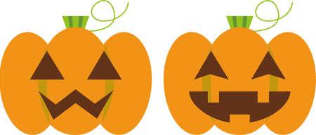 Halloween 2 pumpkins  イラスト・ベクター素材