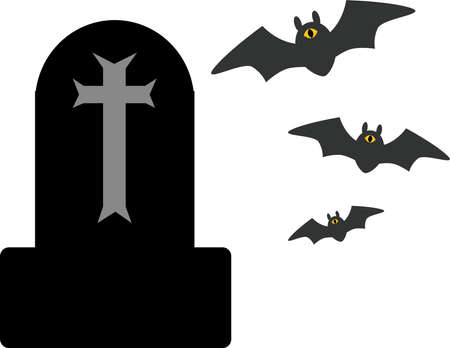 Halloween Tomb and 3 Bats