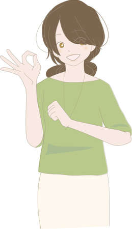 A smiling woman with ok sign with her fingers