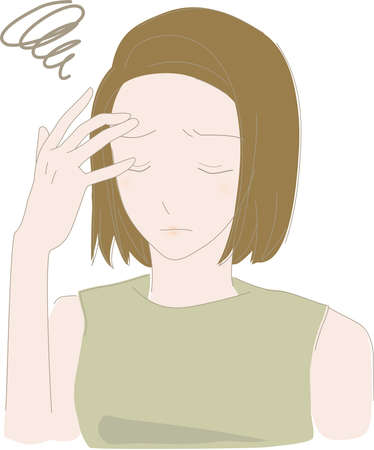 a woman who doesn't have the energy to put her hand on her head because of her worries Çizim