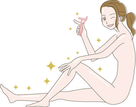Illustration of a woman holding a razor in one hand and doing skin care