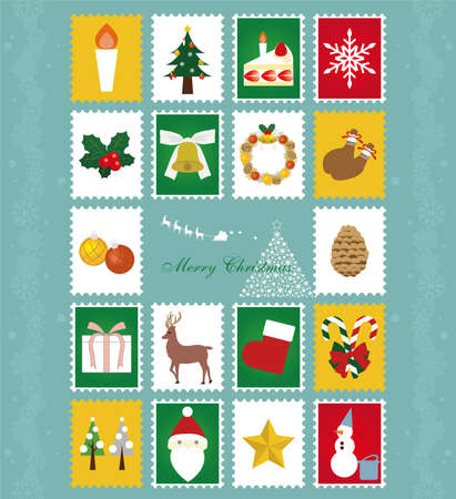 Christmas image icon, hand style illustration 矢量图像