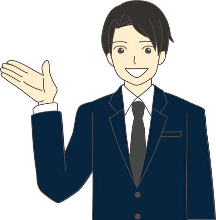a businessman in a suit who is guided with one hand raised