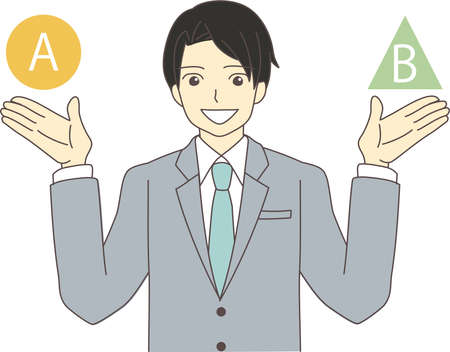 a businessman in a suit with his hands up and explaining