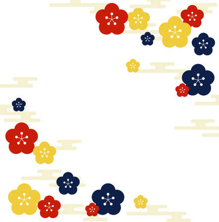 Japanese pattern plum and haze background