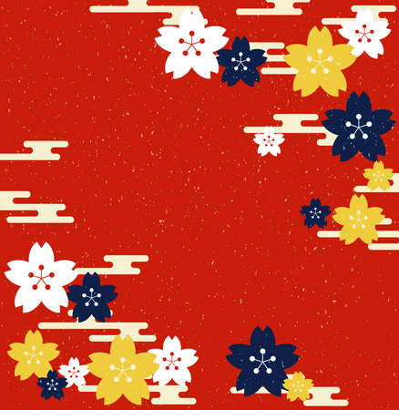 Japanese pattern cherry blossoms and haze background