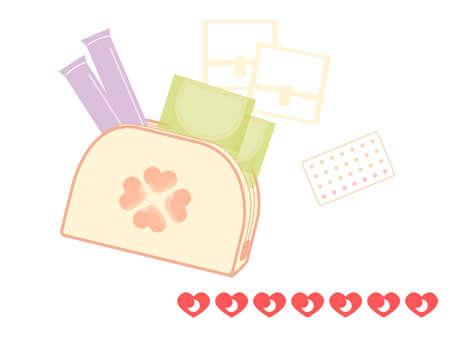 Sanitary products in the pouch Ilustración de vector