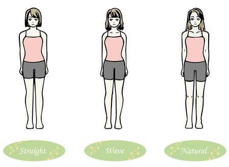Skeletal Diagnosis 3 Types Body Shape Illustration Underwear Ver. (Straight Wave Natural)