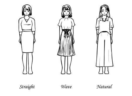 3 types of clothes that look good from the viewpoint of skeletal diagnosis (straight wave natural) 写真素材 - 164242057