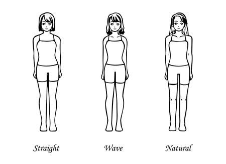 Skeletal Diagnosis 3 Types Body Shape Illustration Underwear Ver. (Straight Wave Natural) 写真素材 - 164241994