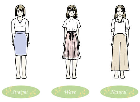 3 types of clothes that look good from the viewpoint of skeletal diagnosis (straight wave natural) 写真素材 - 164241996