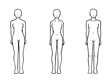 Skeletal Diagnosis 3 Types Body Shape Illustration Nude Ver. (Straight Wave Natural) 写真素材 - 164242000