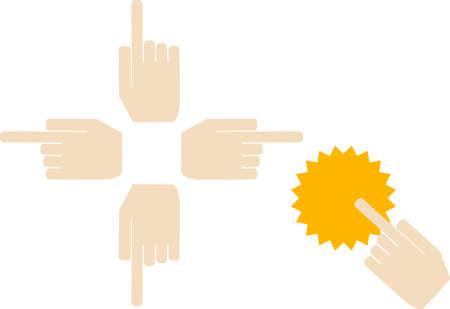 Finger Material Set - Pointing Mark  イラスト・ベクター素材