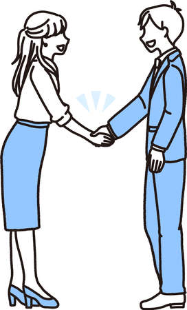 Illustration of a male and female businessperson greeting