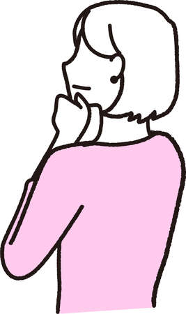 a woman thinking with her hands on her chin facing diagonally up