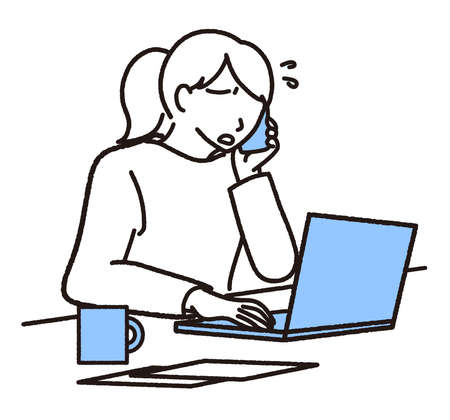Troubled looking woman heading for laptop while calling on mobile phone  イラスト・ベクター素材
