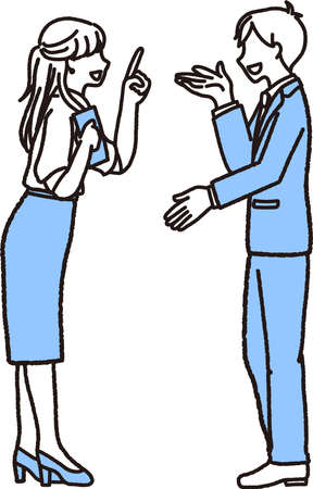 Illustration of a male and female businessperson exchanging information