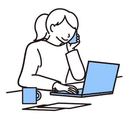 Woman heading for laptop while calling on mobile phone  イラスト・ベクター素材