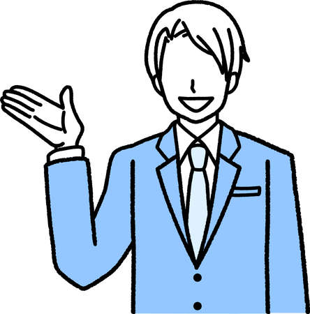 a businessman in a suit who is guided with one hand raised 写真素材 - 165871885