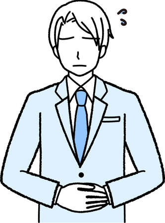 a businessman in a suit who is apologizing with his hands in front of him