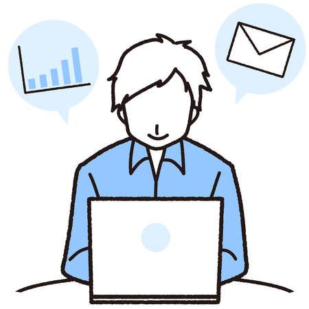 Man working towards laptop  イラスト・ベクター素材