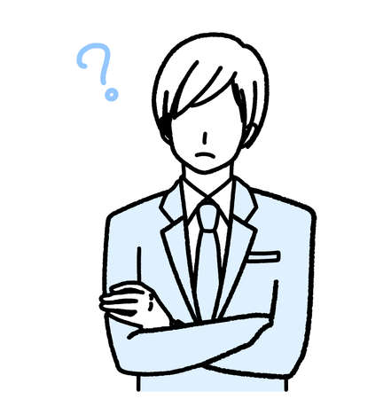 Businessman in suit with question mark