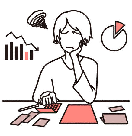 A woman who is troubled with household management  イラスト・ベクター素材