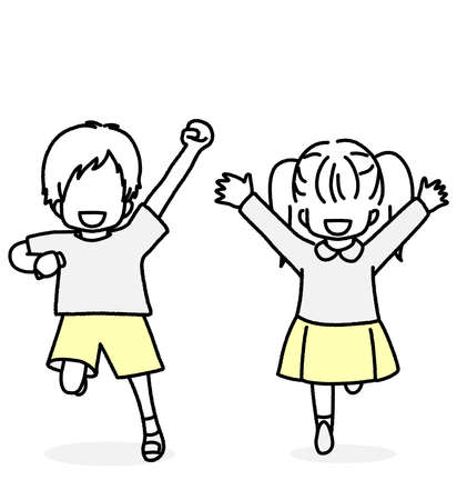 Running Toddler Male and Female  イラスト・ベクター素材
