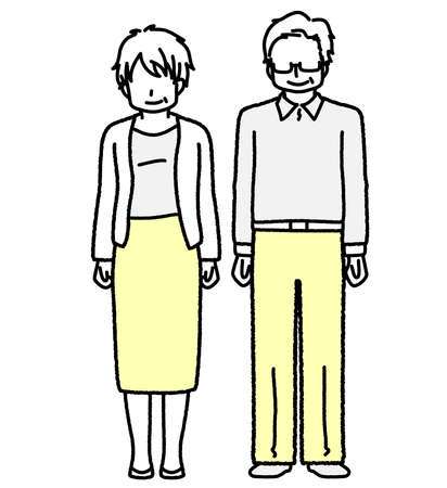 Standing Grandpa and Grandma Senior Men and Women