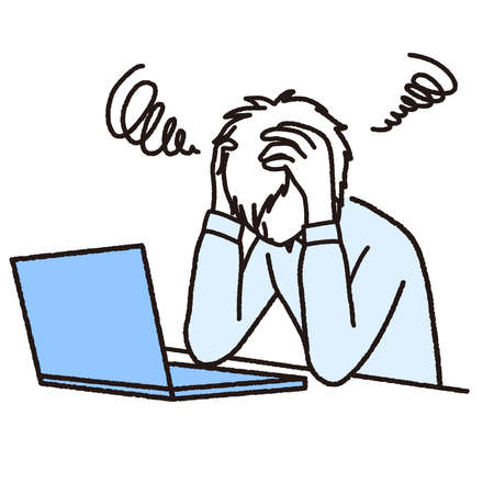 Man in trouble holding his head in front of his laptop  イラスト・ベクター素材